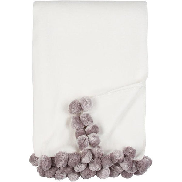 Luxxe Pom Pom Throw in Ivory and Dove by Malibu Luxxe