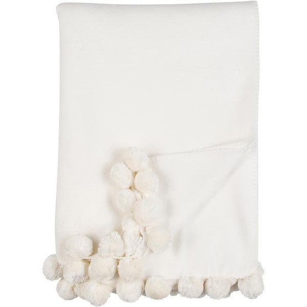 Luxxe Pom Pom Throw in Ivory by Malibu Luxxe
