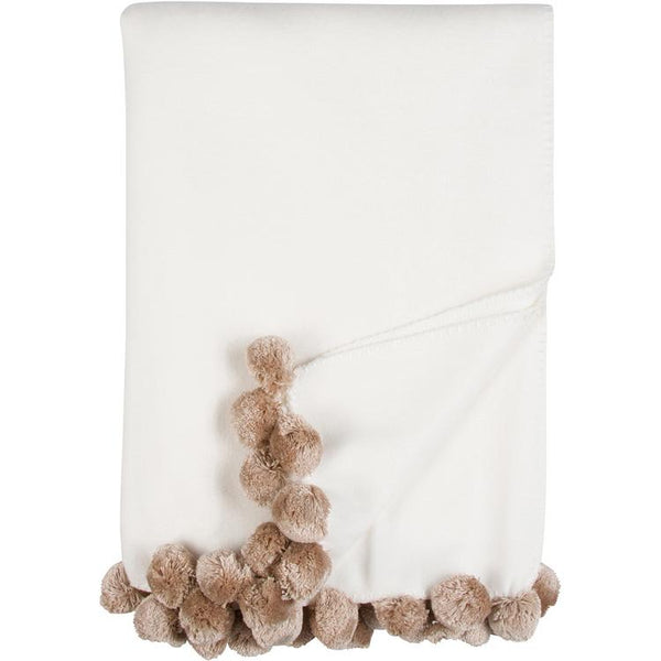 Luxxe Pom Pom Throw in Ivory and Nude by Malibu Luxxe