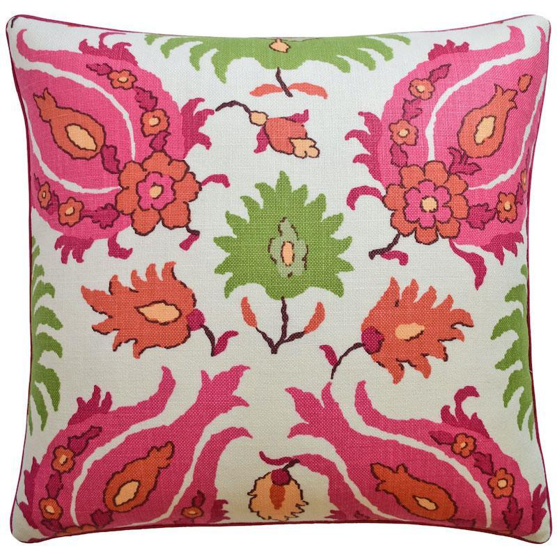 Kashmiri Pink and Green Linen throw pillow | Ryan Studio at Fig Linens