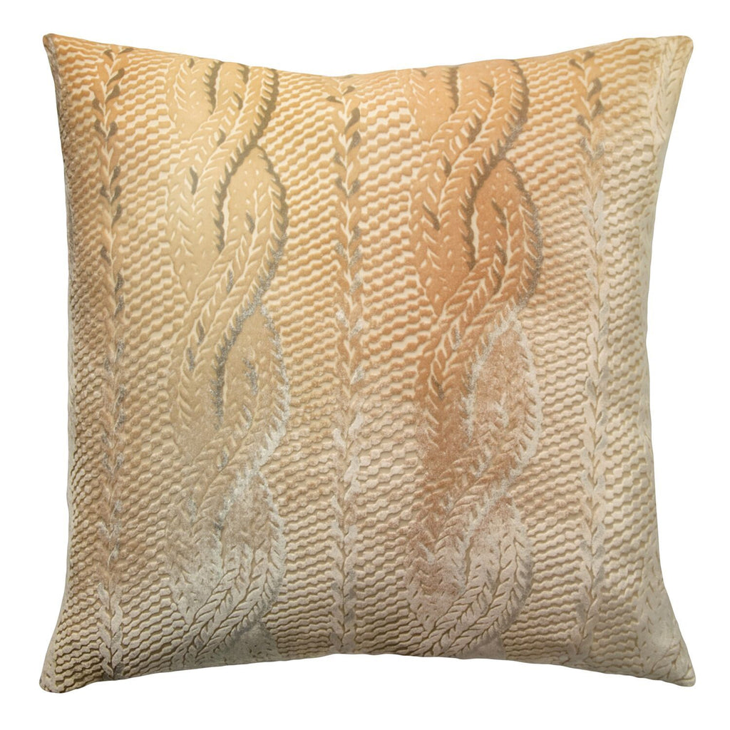 Gold Beige Cable Knit Decorative Pillow by Kevin O'Brien Studio