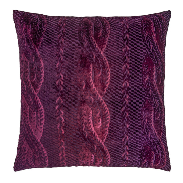 Fig Linens - Raspberry Cable Knit Decorative Pillow by Kevin O'Brien Studio