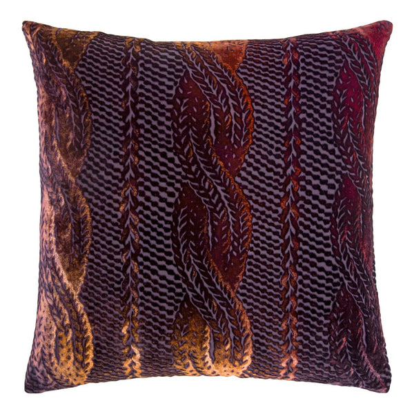 Fig Linens - Wildberry Cable Knit Decorative Pillow by Kevin O'Brien Studio