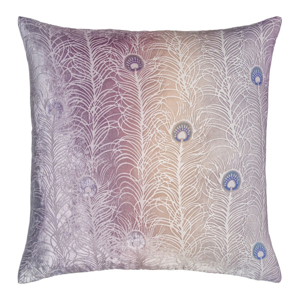 Fig Linens - Opal Peacock Feather Decorative Pillow by Kevin O'Brien Studio
