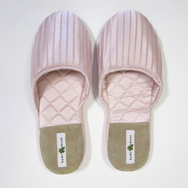Kumi Kookoon French Pleat Silk Slippers | Fig Linens pink