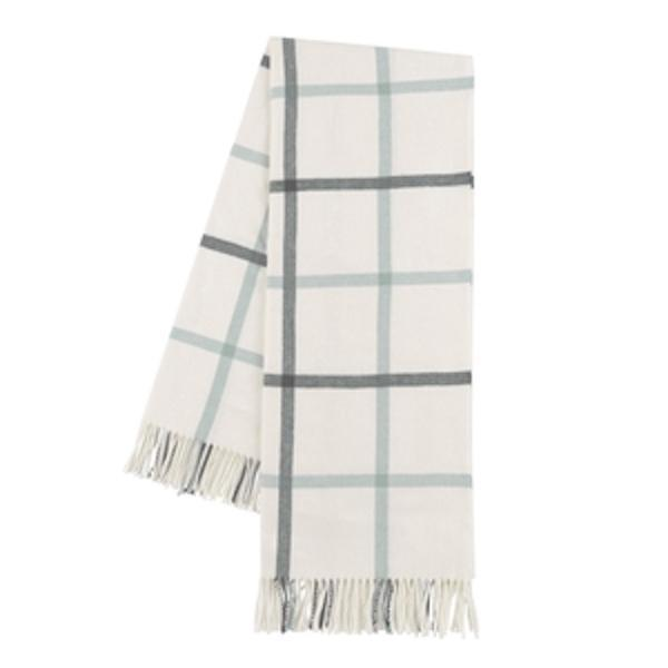 Charcoal and Seaglass Tattersall Plaid Throw