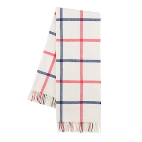 Indigo and Coral Tattersall Plaid Throw
