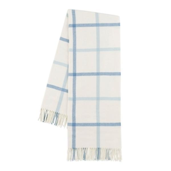 Blue Denim and Baby Blue Tattersall Plaid Throw
