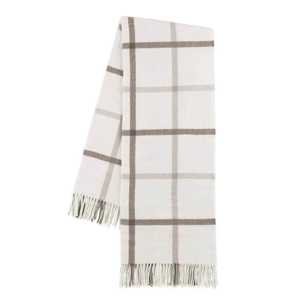 Barnwood and Dune Tattersall Plaid Throw