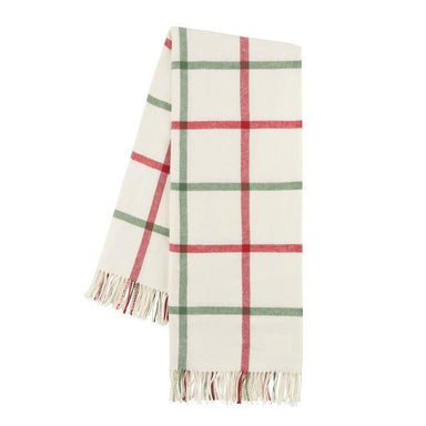 Throws on Sale - Holiday Tattersall Plaid Throw by Lands Downunder