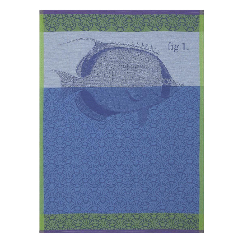 Tahiti Ocean Tea Towel Set of 4 by Le Jacquard Francais