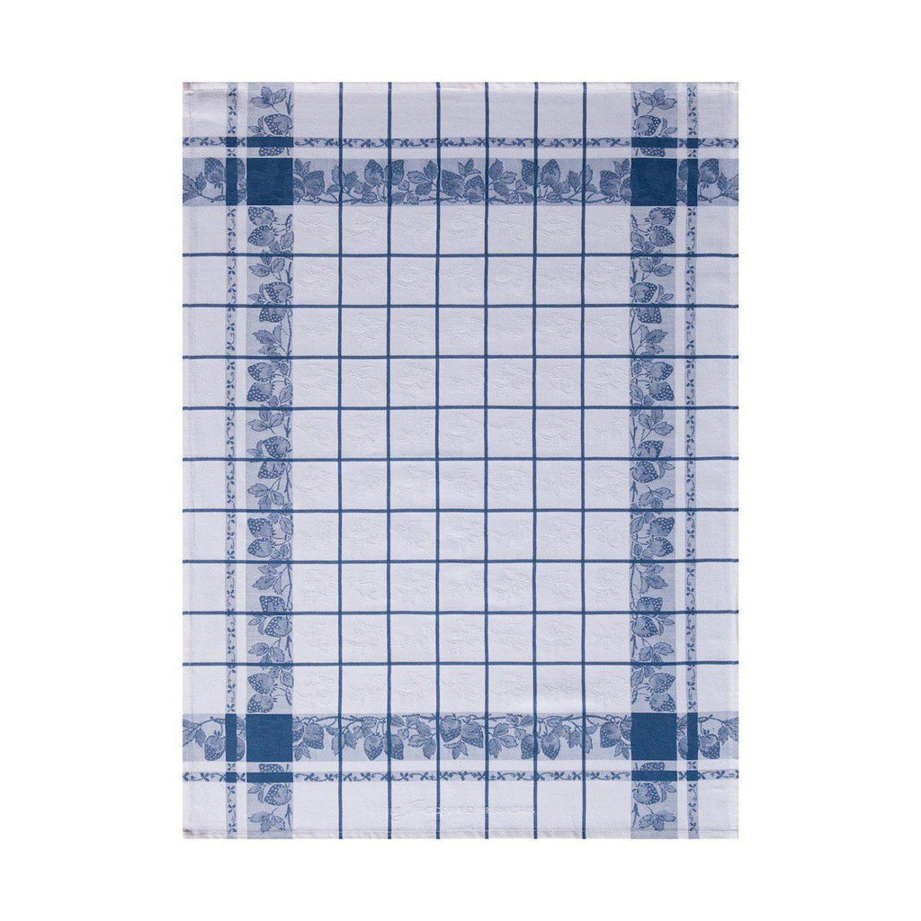 Fraises French Blue Tea Towel Set of 4 by Le Jacquard Francais