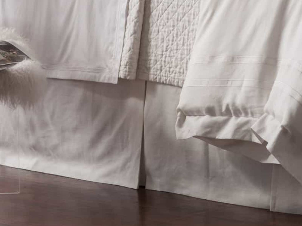 Lili Alessandra Casablanca White Linen Tailored Bed Skirt