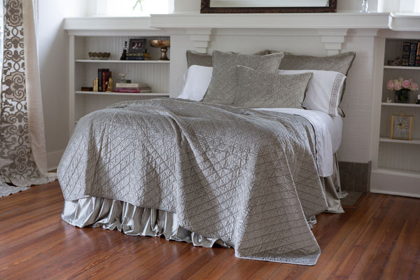 Lili Alessandra Chloe Velvet Ice Silver Quilted Coverlet