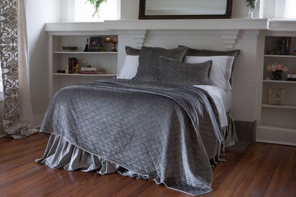Lili Alessandra Chloe Silver Quilt, Pillows