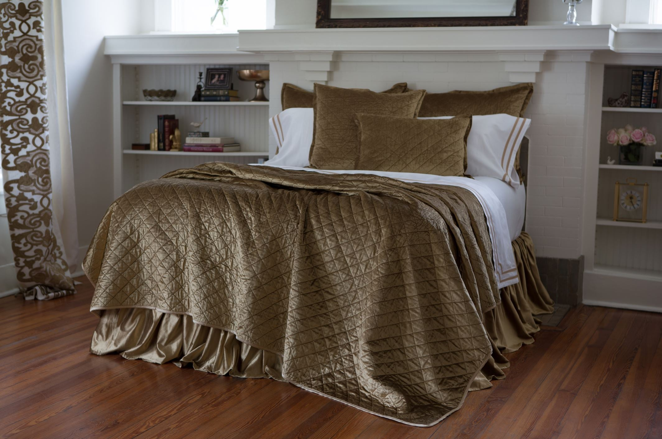 Lili Alessandra Chloe Straw Quilt, Pillow, Bedskirt at Fig Linens