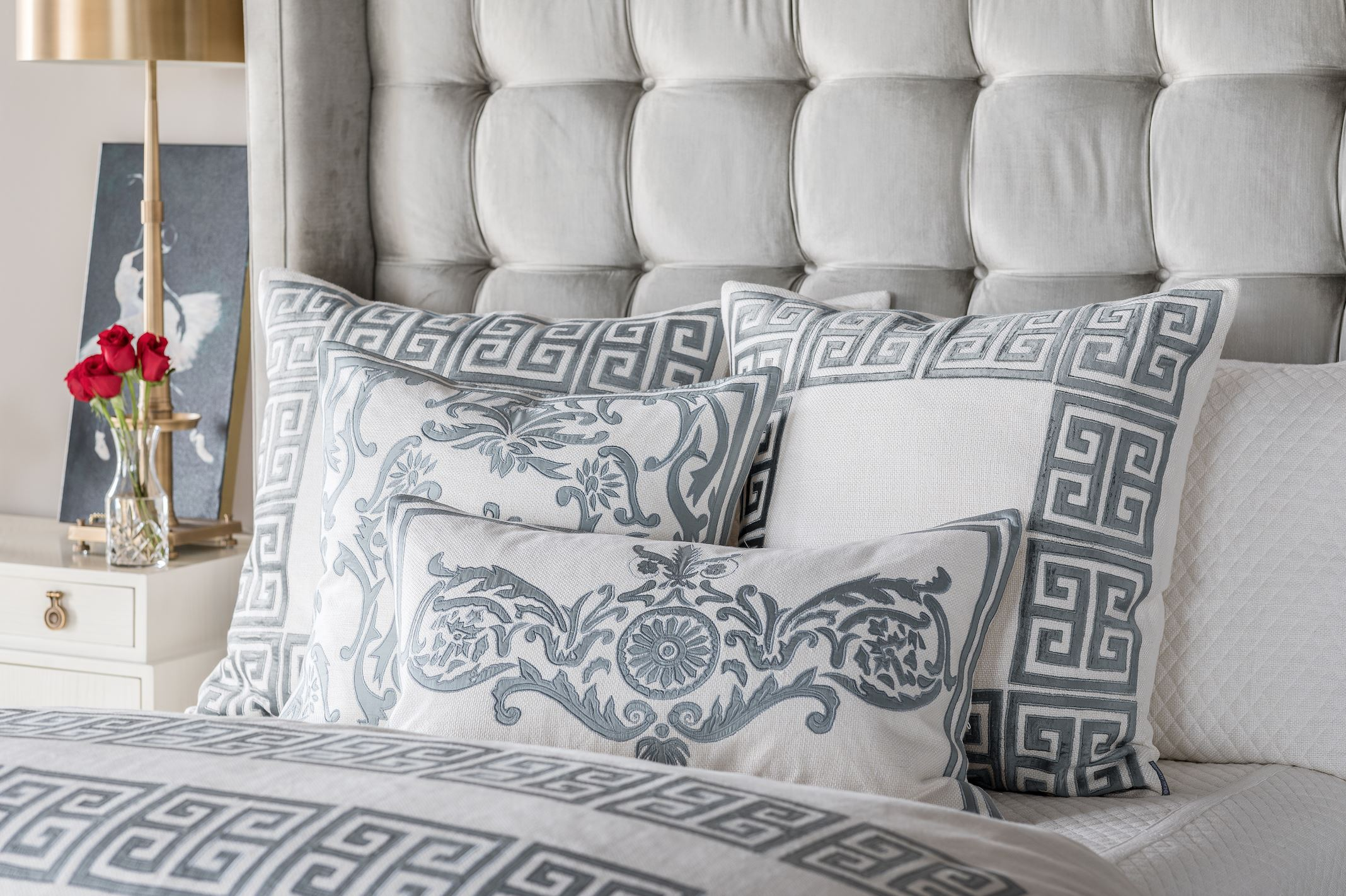 Guy Blue Euro Pillow on Bed - Lili Alessandra at Fig Linens