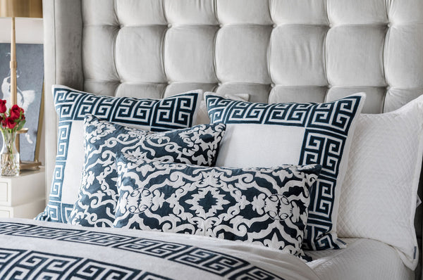 Guy Midnight Velvet Euro Pillows on Bed by Lili Alessandra
