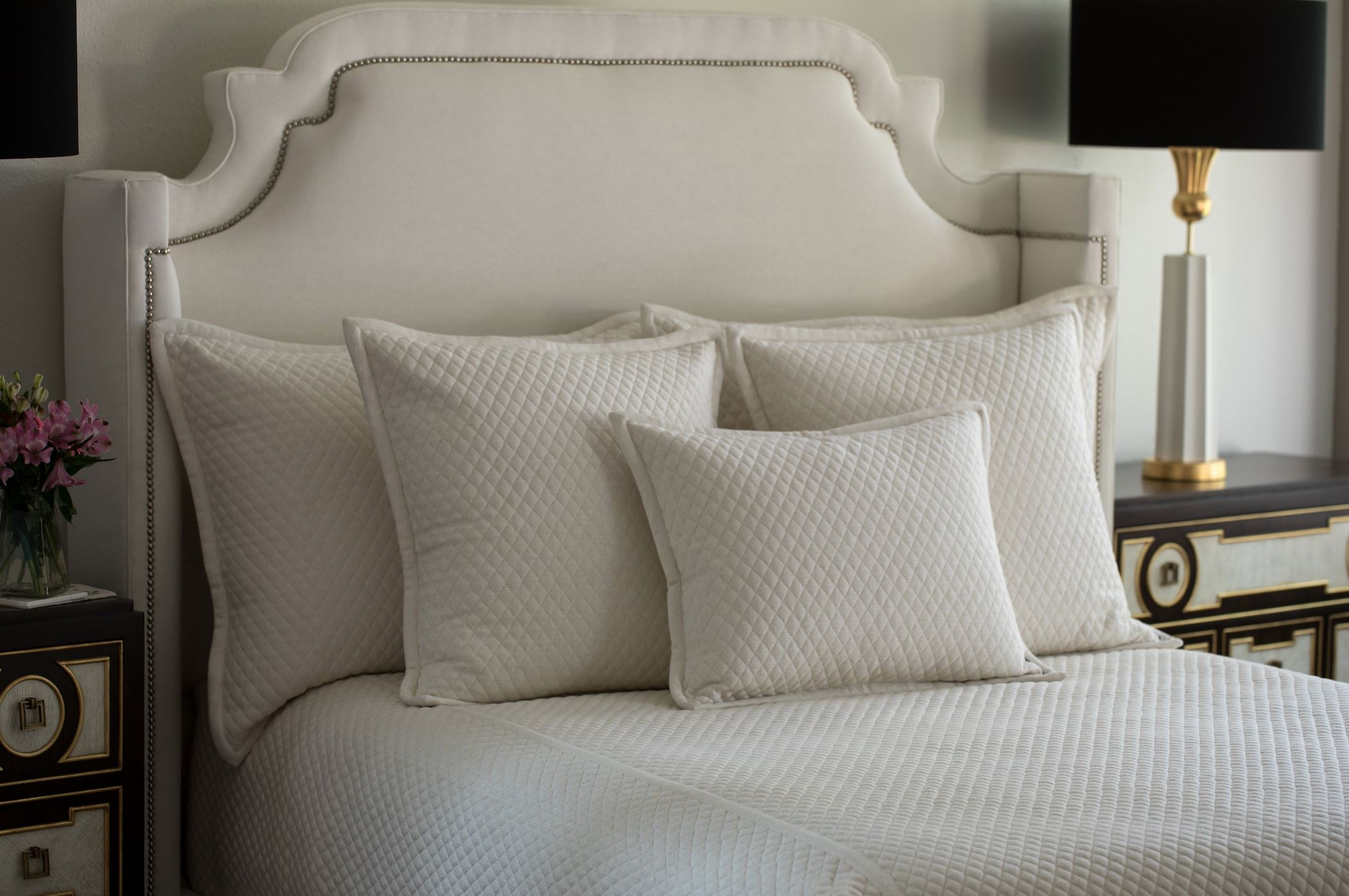 Laurie Quilted Ivory Basketweave Bedding at Fig Linens