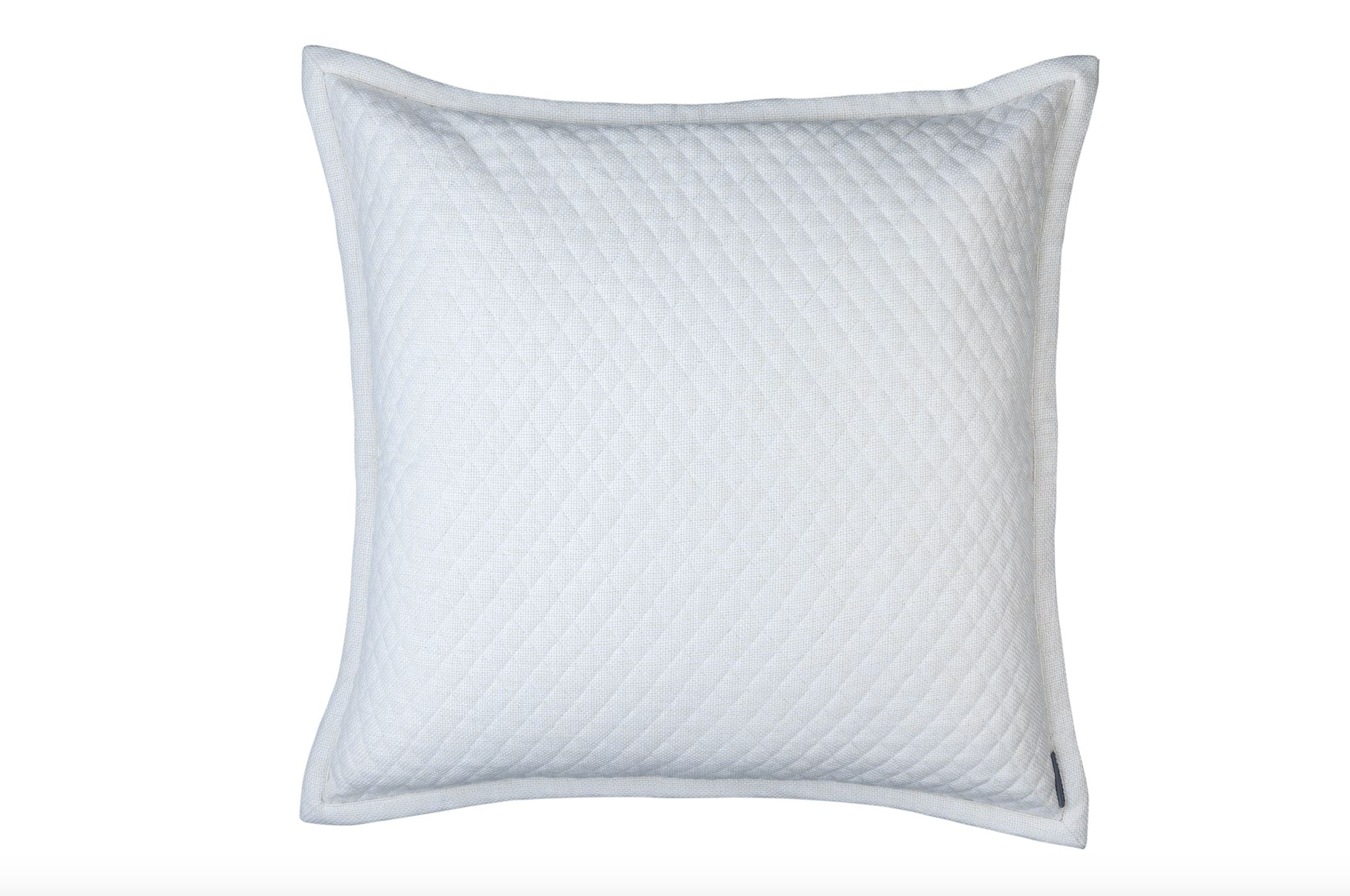 Lili Alessandra Laurie Quilted Ivory Basketweave Euro Pillow