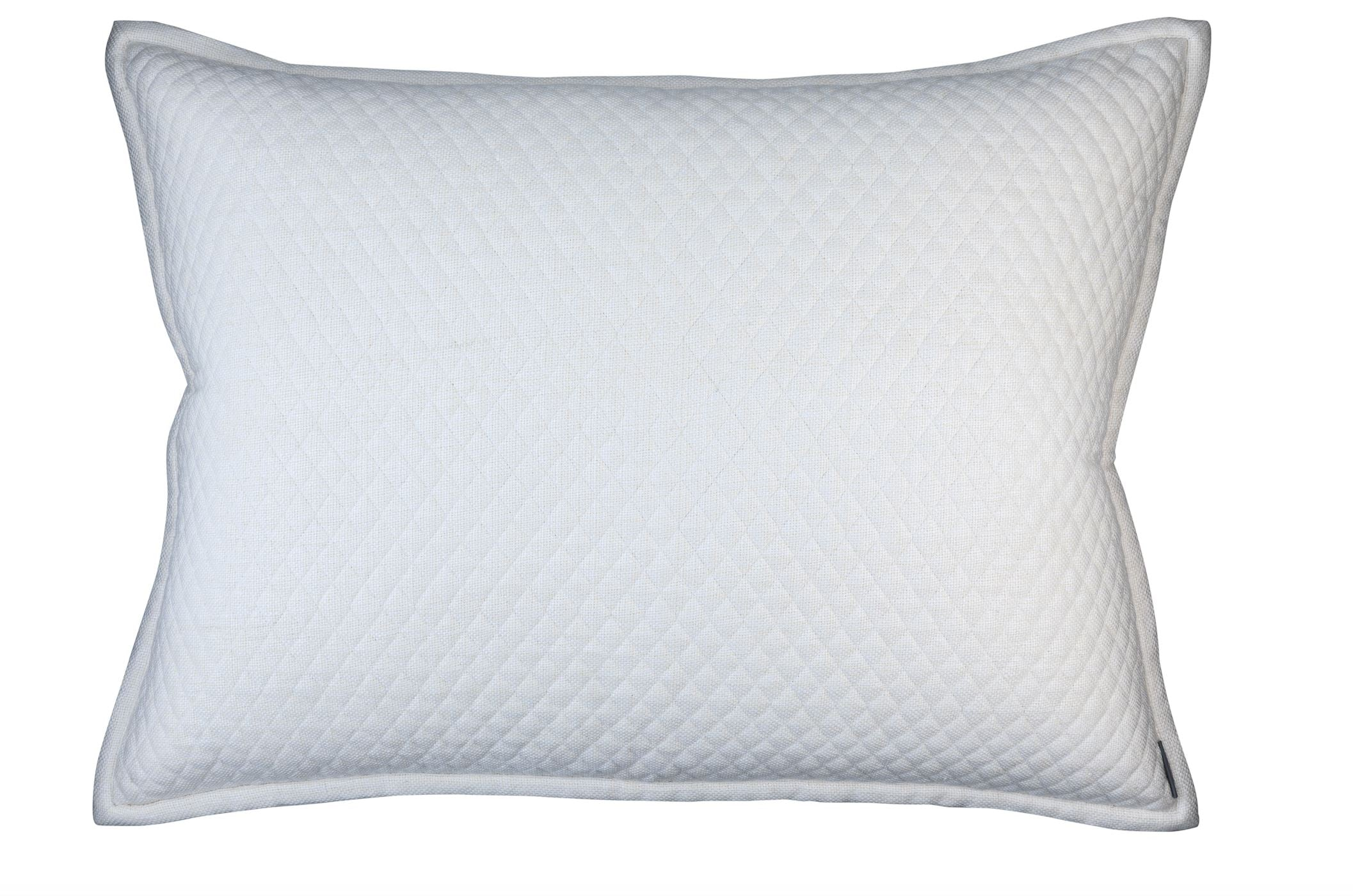 Lili Alessandra Laurie Quilted Ivory Basketweave Luxe Euro Pillow