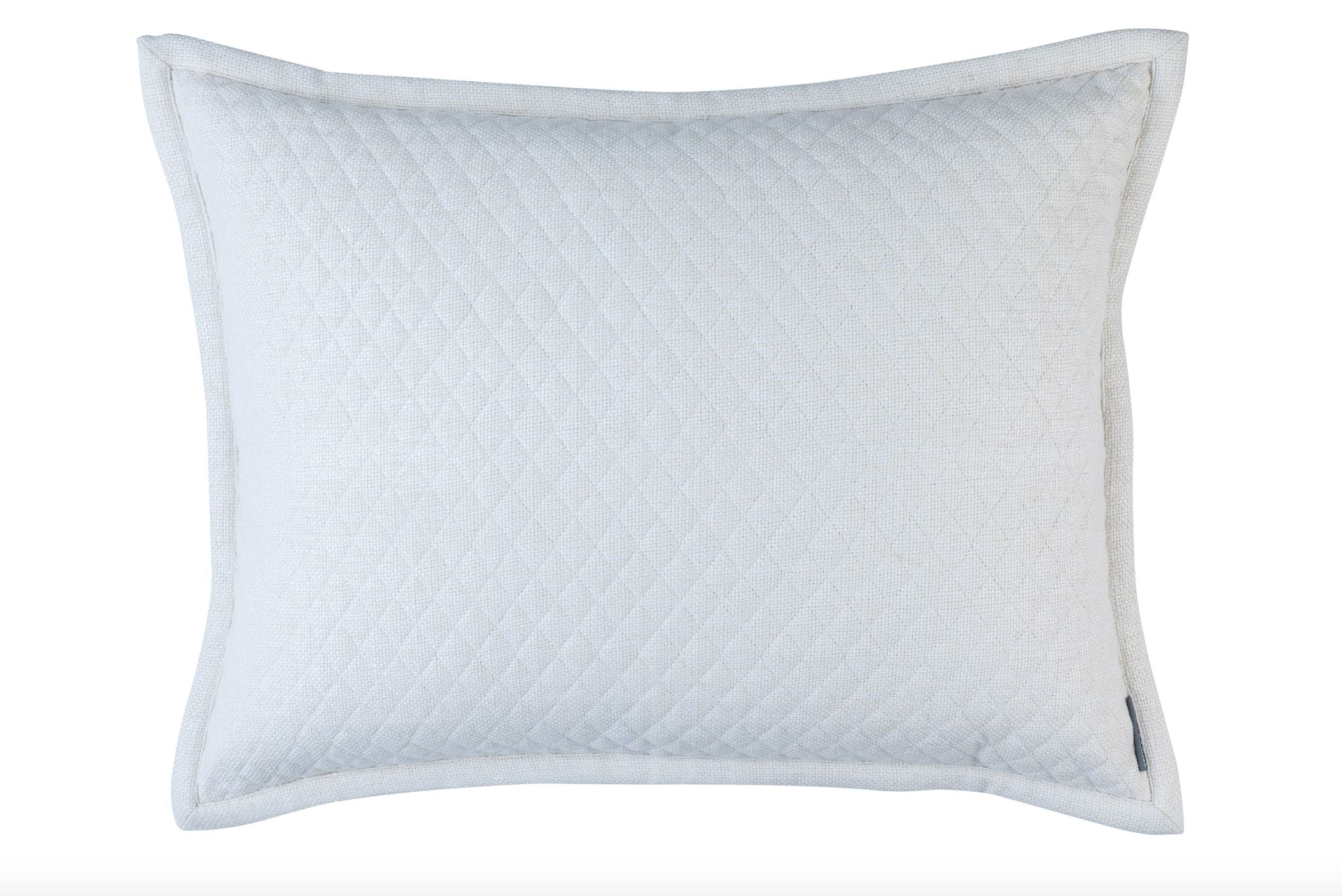 Lili Alessandra Laurie Quilted Ivory Basketweave Standard Pillow