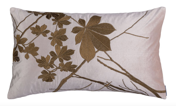 lili alessandra leaf blush velvet with gold rectangle pillow