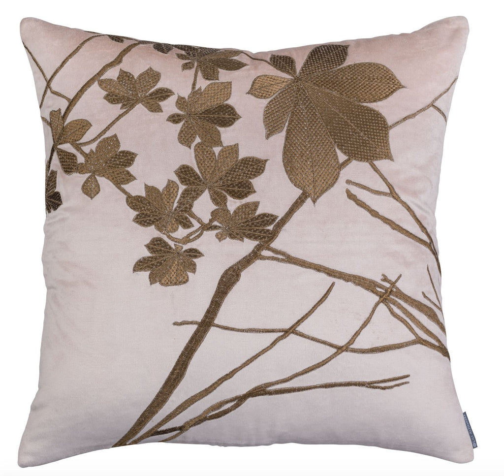lili alessandra leaf blush velvet with gold square pillow