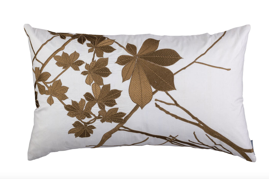 lili alessandra leaf ivory silk with gold rectangle pillow