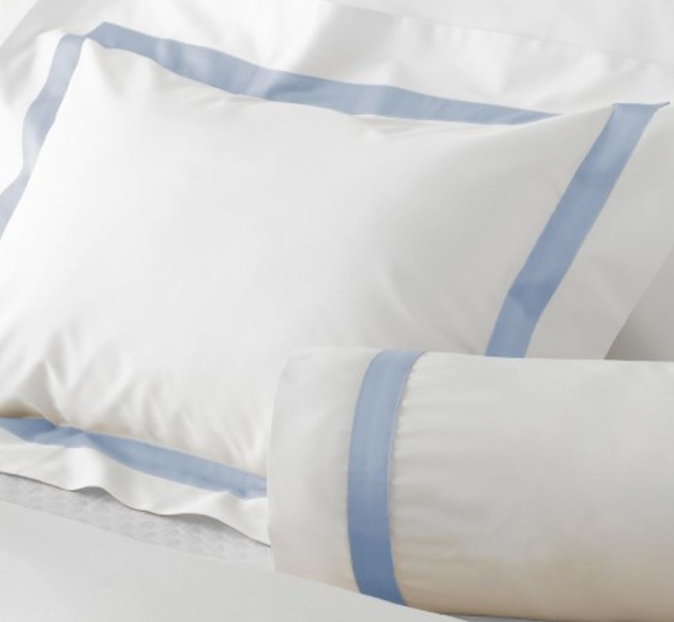 Lowell Light Blue on White Bedding - Matouk Fine Linens