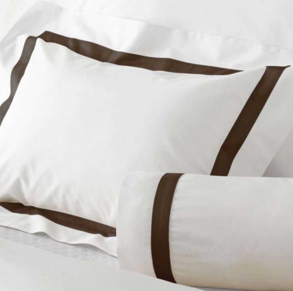 chocolate brown lowell bedding by Matouk Fine Linens