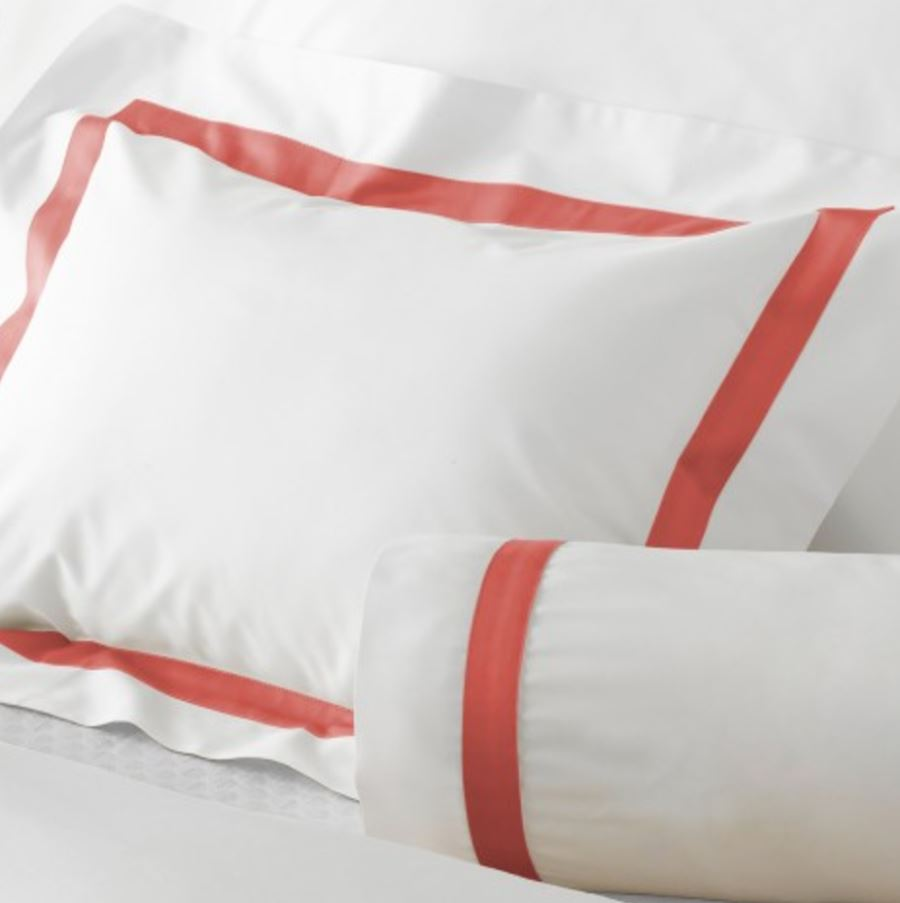 Coral on White - Lowell 600 TC - Matouk Fine Linens