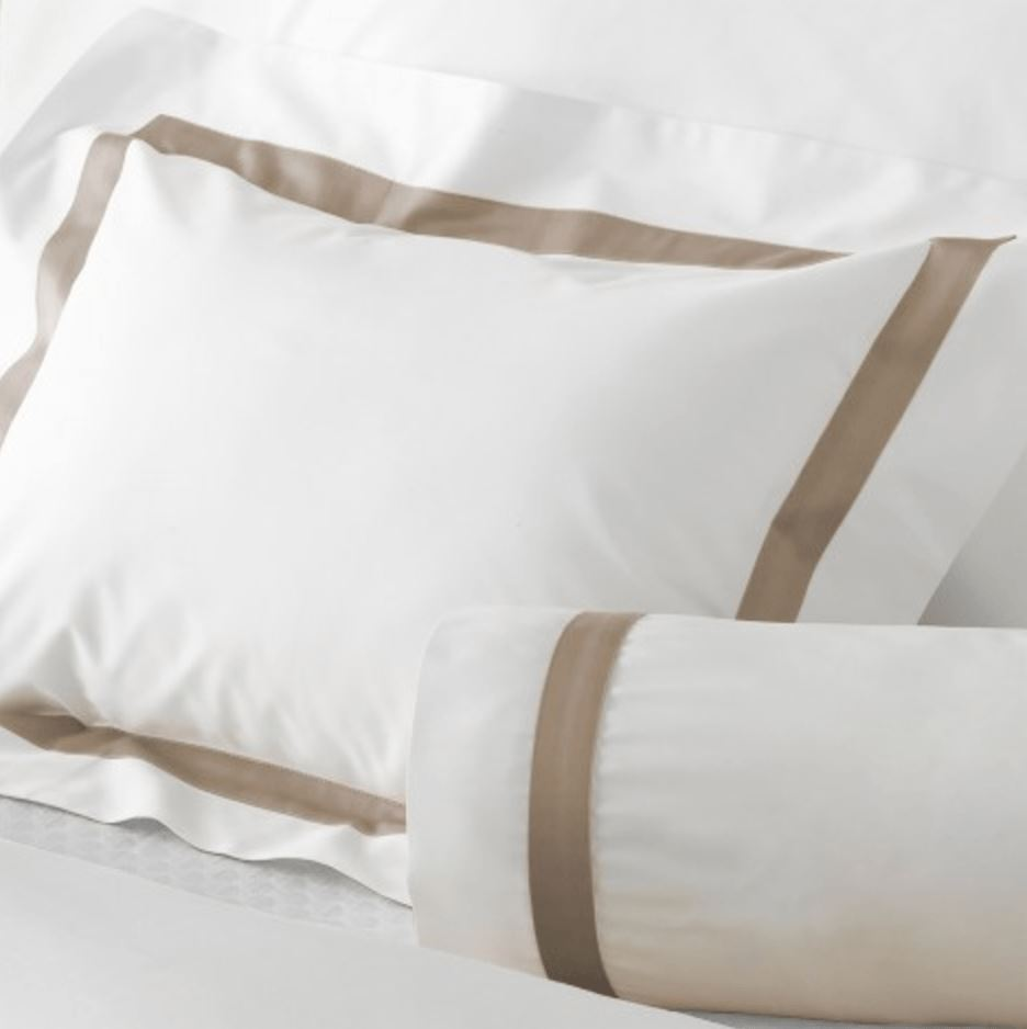 Lowell White/Khaki Bedding by Matouk - Fig Linens