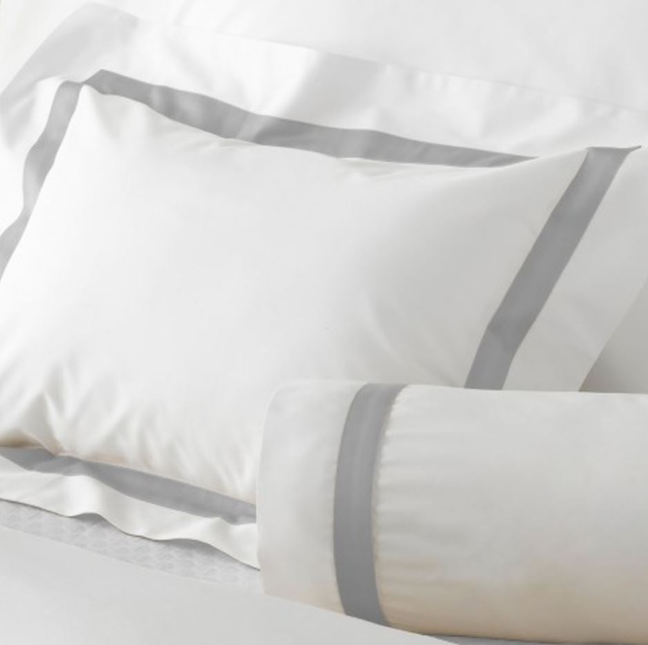 Lowell Silver on white percale - Matouk - Fig Fine Linens