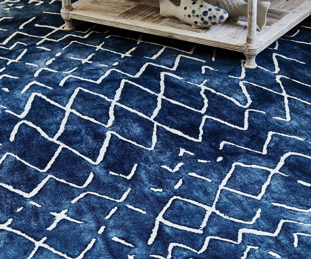 Mariah Indigo Wool Rug - Detail View of Rug Pattern - William Yeoward at Fig Linens