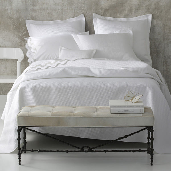 Matouk Bedding - Alba White Quilts and Shams - Fig Linens