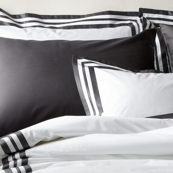 Matouk Luxury Bedding - Allegro Charcoal Duvet, sheets, shams - Fig Linens