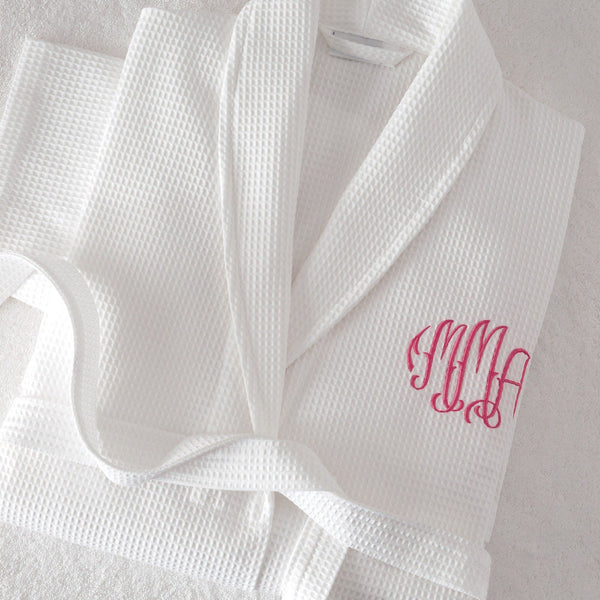 White Waffle Weave Robe with Monogram by Matouk | Fig Linens and Home