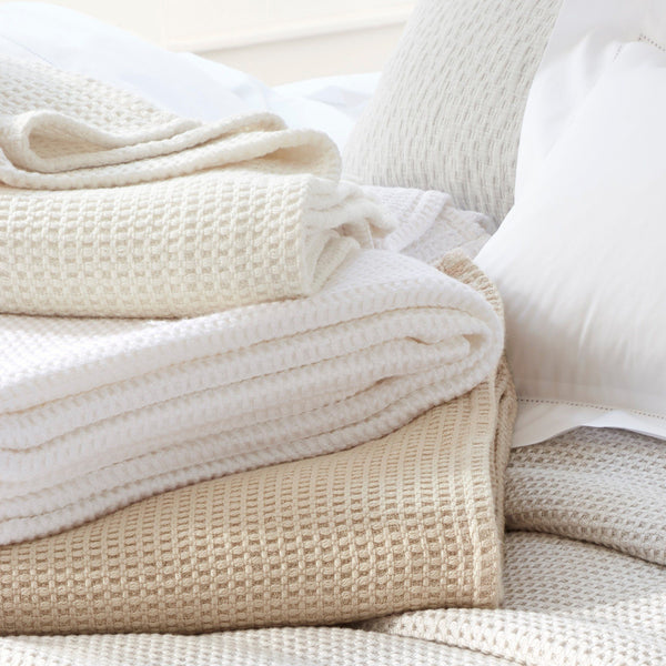 Stack of Matouk Cotton Blankets | Chatham Blanket at Fig Linens