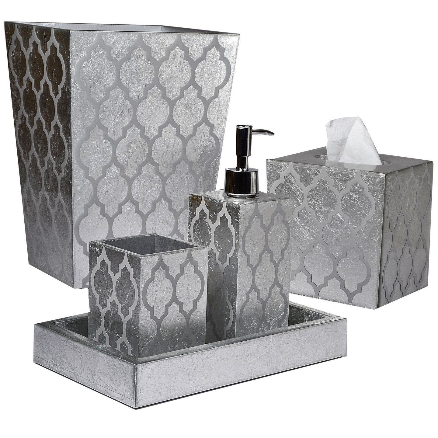 Arabesque Silver Bath Accessories by Mike + Ally