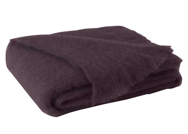 Brushed Mohair Throw Mulberry by Lands Downunder