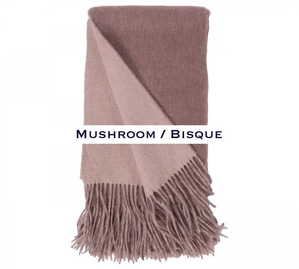 100% Cashmere Double Faced Throw by Alashan mushroom / bisque