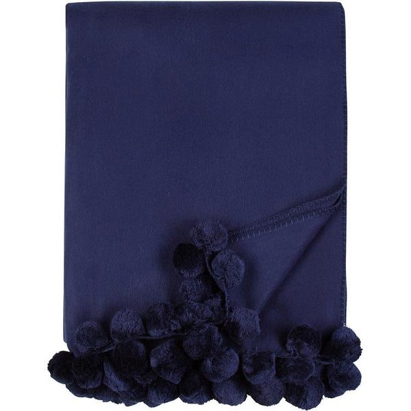 Luxxe Pom Pom Throw in Indigo by Malibu Luxxe