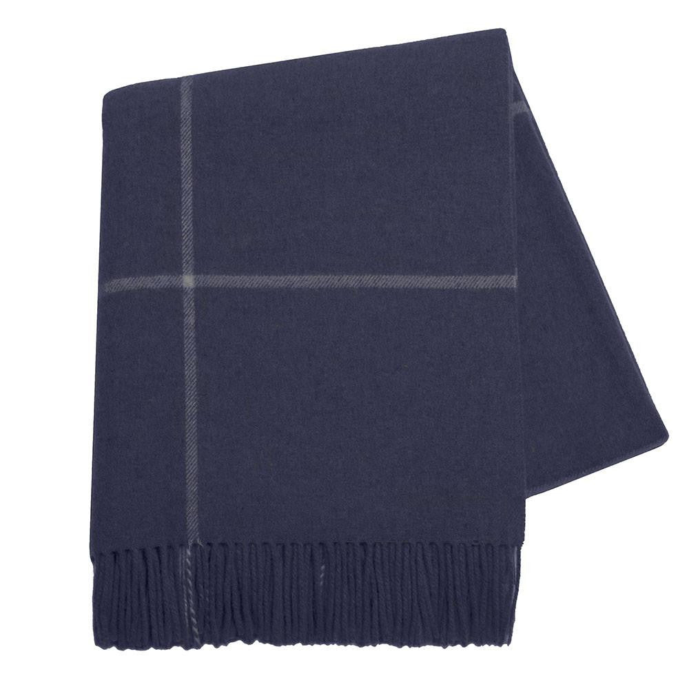 Navy Windowpane Cashmere Throw by Lands Downunder