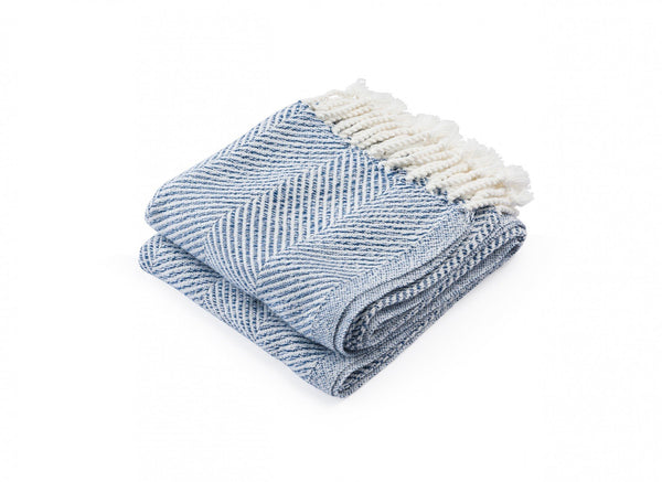 Newfield Indigo Twist Throw by Brhams Mount | Fig Linens