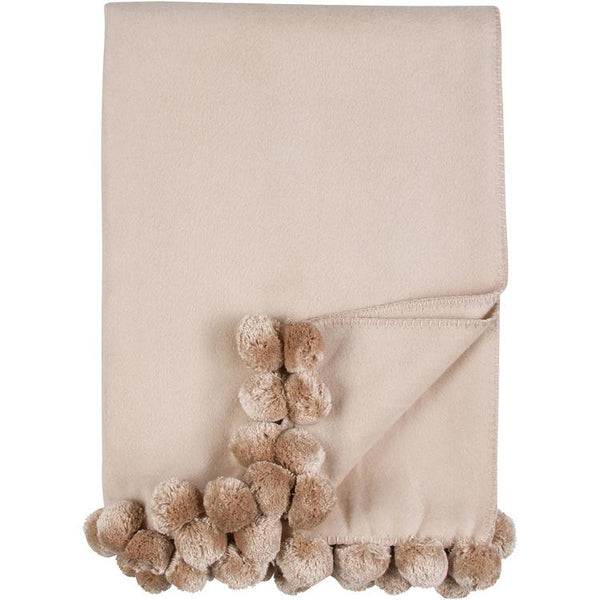 Luxxe Pom Pom Throw in Nude by Malibu Luxxe