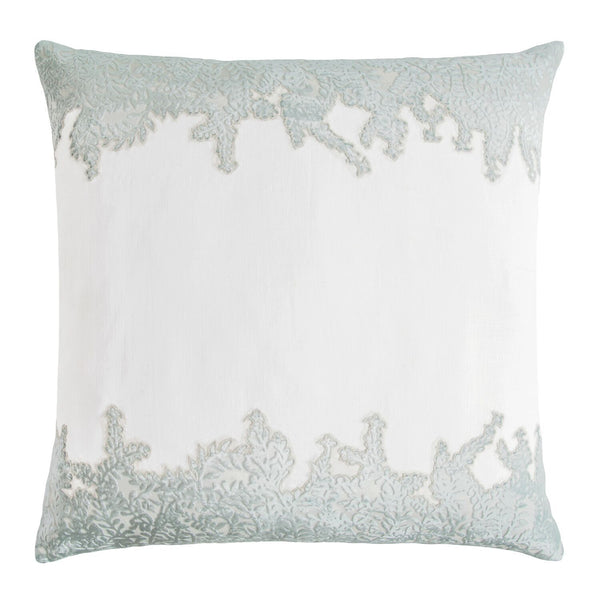 Fig Linens - Sage & White Ferns Velvet Appliqué Pillow by Kevin O'Brien Studio