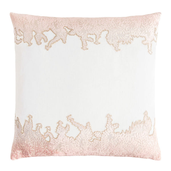 Fig Linens - Blossom Ferns Velvet Appliqué Square Pillow by Kevin O'Brien Studio