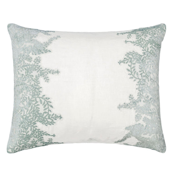 Sage & White Ferns Velvet Appliqué Pillow by Kevin O'Brien Studio - Fig Linens