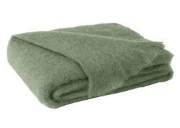 Brushed Mohair Throw Olive by Lands Downunder